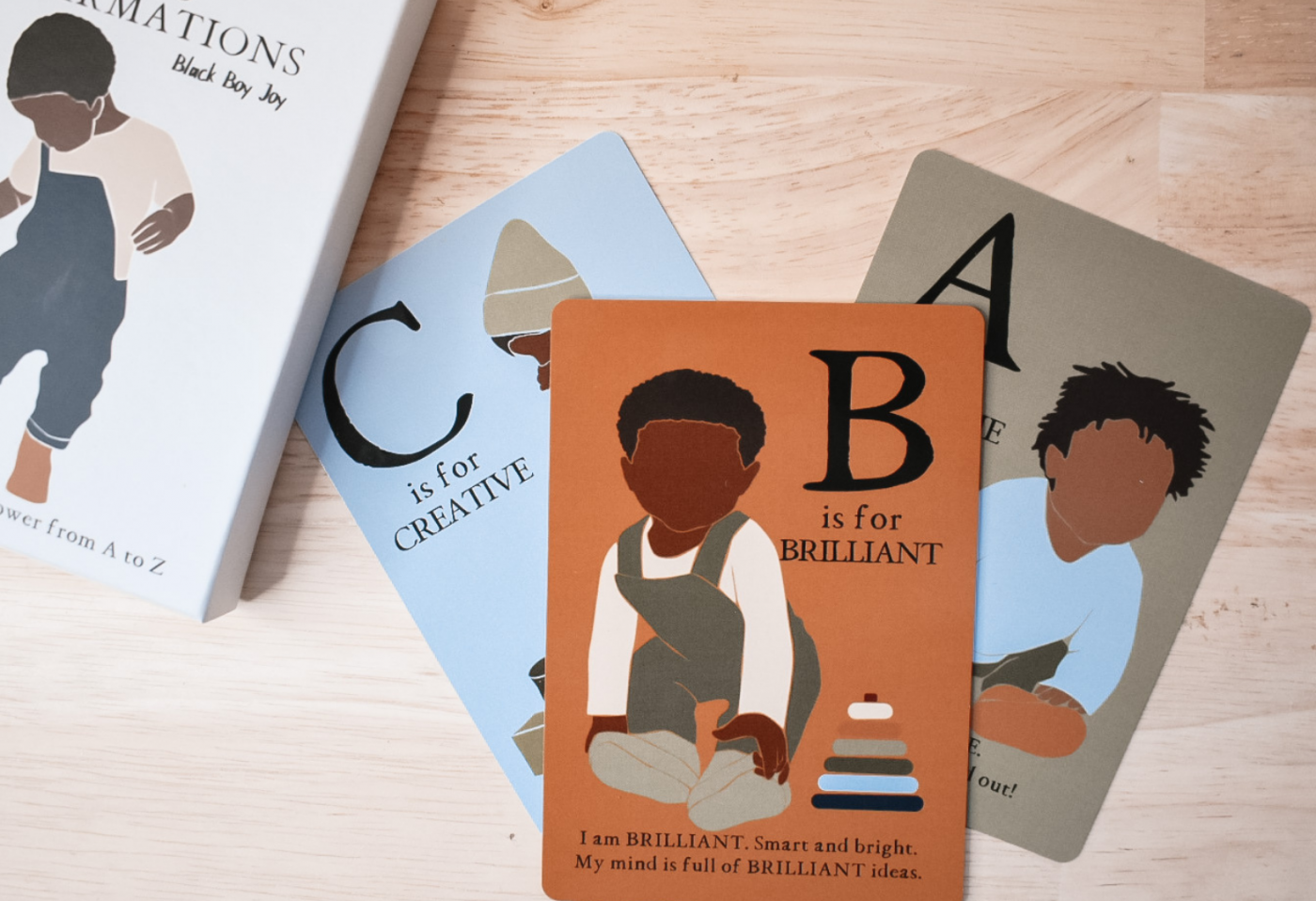 image of ABC Affirmation flash cards with Black boy illustrations